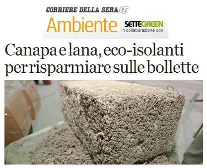 Isolanti in canapa sul Corriere della Sera