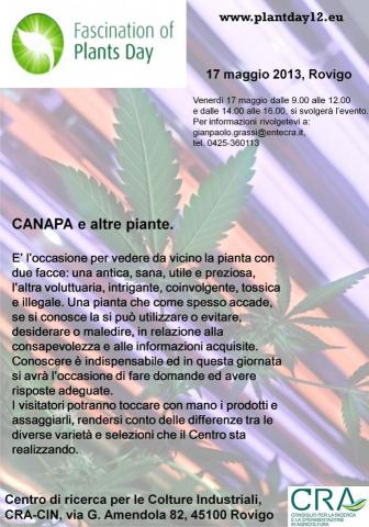 Giorno internazionale del fascino delle piante 2013_canapa e altre piante