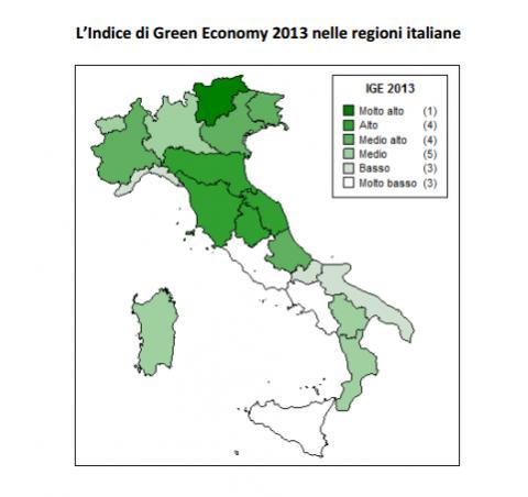 Regioni Italiane secondo l'Indice di Green Economy 2013